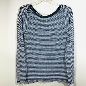 Athleta Waffle Knit Top Long Sleeve L Black White